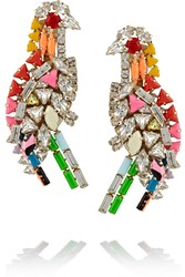 Shourouk Parrot Gold Plated Swarovski Crystal Clip Earrings Pink