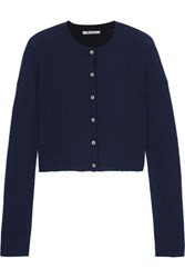 Alexander Wang T By Cropped Ribbed Merino Wool Cardigan Midnight Blue