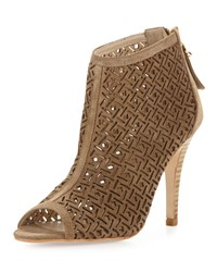 Etienne Aigner Kiva Laser Cut Leather Bootie Sand Brown