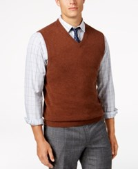 Club Room Men's V Neck Cashmere Sweater Vest Created For Macy's Sepia Heather