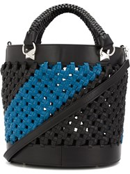 Sonia Rykiel Woven Leather Shoulder Bag Black