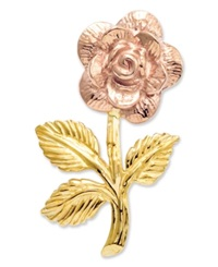 Macy's 14K Gold And 14K Rose Gold Charm Rose Flower Charm