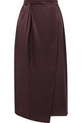 Vince Knotted Wrap Effect Silk Satin Midi Skirt Brown