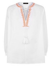 Jaeger Embroidery Boho Blouse White