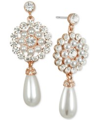 Jewel Badgley Mischka Crystal And Imitation Pearl Flower Drop Earrings Rose Gold