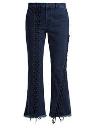 Marques Almeida Lace Up Cropped Jeans Indigo