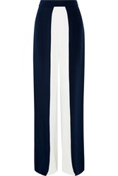 Cushnie Et Ochs Two Tone Silk Crepe Wide Leg Pants Navy