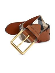 Burberry Striped Cotton And Leather Belt Russet