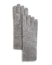 Bloomingdale's C By Waffle Knit Cashmere Gloves Pale Gray