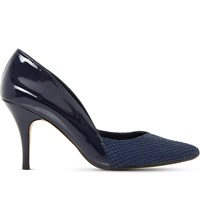 Dune Alyvia Faux Leather Heeled Courts Navy Patent