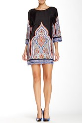 Glam Printed 3 4 Sleeve Dress Multi
