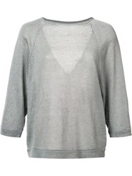 Brunello Cucinelli V Back Jumper Grey