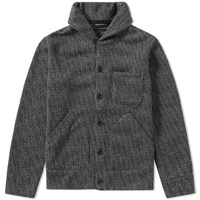 Beams Plus Printed Fleece Shawl Cardigan Grey