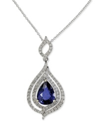Effy Collection Royale Bleu By Effy Diffused Sapphire 1 3 4 Ct. T.W. And Diamond 1 2 Ct. T.W. Pendant Necklace In 14K White Gold