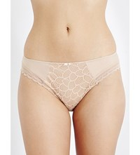 Chantelle Merci Jersey And Stretch Lace Bikini Briefs Nude
