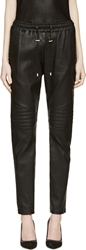 Balmain Black Quilted Leather Trousers