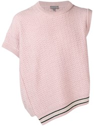 Lanvin Asymmetric Knit Jumper Pink And Purple