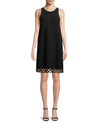 Milly Eyelet Trim Shift Dress Black