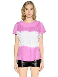 Drome Tie Dyed And Fringed Nappa Leather Top