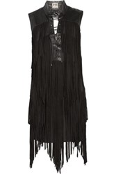 Haute Hippie Fringed Lace Up Suede Mini Dress Black