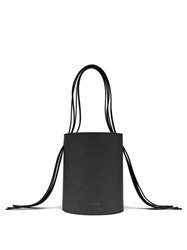 Mansur Gavriel Fringe Red Lined Leather Bucket Bag Black
