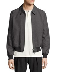Tom Ford Zip Front Wool Bomber Jacket Gray