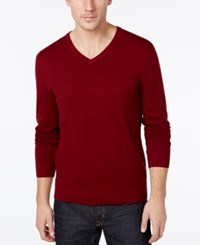 Alfani Big And Tall Solid V Neck Sweater Red Velvet Heather