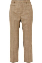 R 13 R13 Cropped Leopard Print Voile Trimmed Checked Wool Straight Leg Pants Brown