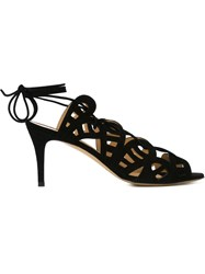 Bionda Castana 'Nicolette' Laser Cut Lace Up Sandals Black