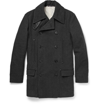 Maison Martin Margiela Cotton And Wool Blend Herringbone Peacoat Gray