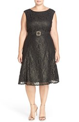 Plus Size Women's Adrianna Papell Embellished Tea Length Metallic Lace Dress
