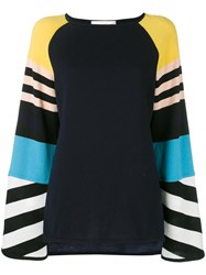 Antonia Zander Stripe Panel Top Women Cashmere M Blue