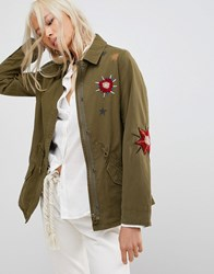 Maison Scotch Floral Embroidered Utility Jacket 17 Combo A Green