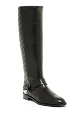 Stuart Weitzman Raceway Quilted Shaft Leather Riding Boot Black