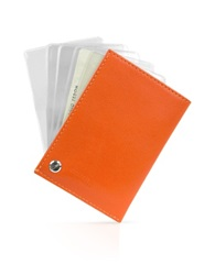 Giorgio Fedon Classica Orange Calfskin Business Card Holder