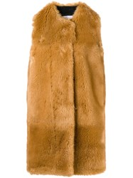Msgm Faux Fur Long Gilet Brown