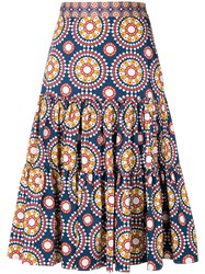 La Doublej Printed Full Skirt Cotton Spandex Elastane Blue