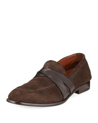 Ermenegildo Zegna Mocassino Suede Penny Loafer Brown