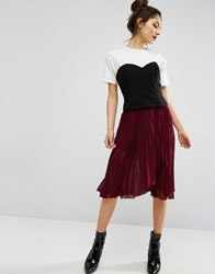 Asos Pleated Midi Skirt With Wrap Front Detail Burgundy Purple