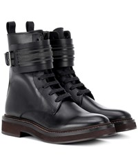 Brunello Cucinelli Lace Up Leather Boots Black