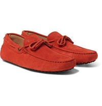 Tod's Gommino Full Grain Nubuck Driving Shoes Tomato Red