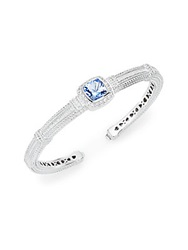 Judith Ripka Classic Blue Quartz White Sapphire And Sterling Silver Bangle Bracelet