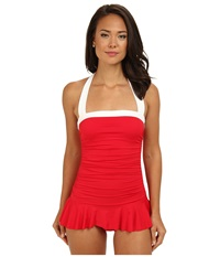 Lauren Ralph Lauren Bel Aire Shirred Bandeau Skirted Mio Slimming Fit One Piece Cherry Red Women's Swimsuits One Piece
