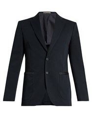 Bottega Veneta Intrecciato Trimmed Single Breasted Blazer Navy