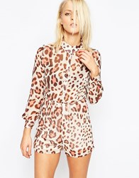 Oh My Love Shirt Playsuit Brown