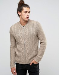 Asos Knitted Bomber With Cable Stitch In Soft Yarn Light Taupe Brown