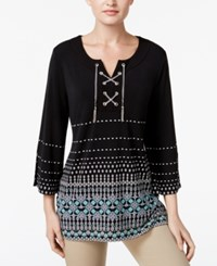 Jm Collection Petite Printed Lace Up Tunic Only At Macy's New Mexico Fade