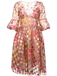 Marchesa Notte Polka Dot Flared Dress Pink And Purple