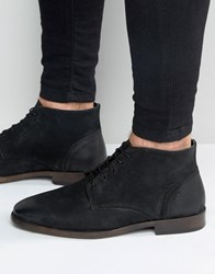 New Look Waxed Leather Chukka Boots In Black Black