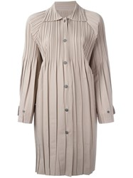 Issey Miyake Pleats Please By Pleated Coat Nude Neutrals